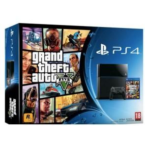 PS4 SONY PLAYSTATION 4 CONSOLE JET BLACK + GRAND THEFT AUTO V (EU)