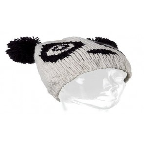 CHUNKY RIB KNIT BEANIE WITH LARGE FAUX FUR POM POM - CREAM